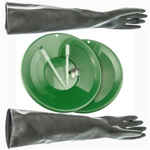 "23"" Rubber Gloves, 2 Green 10"" Double Riffle Gold Pans - 2 Snuffers - 2 Vials"