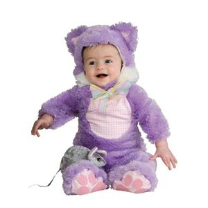 Purple Fuzzy Kuddly Kitty Cat Baby Girl Costume 6-12 months