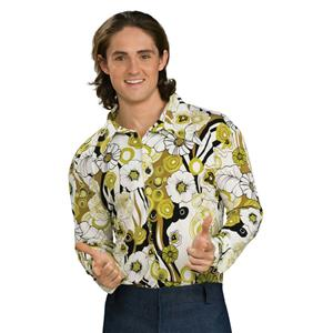 60's 70's Disco Hippie Feeling Groovy Green Floral Print Men's Costume Shirt