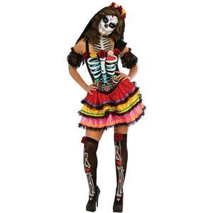 Women's Day Of The Dead Senorita Muerta Costume Large 10-14