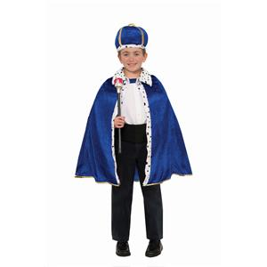 Blue King Robe and Crown Costume Set Size Toddler Child 2-4