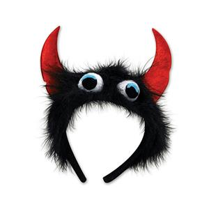 Beistle Black Furry Fuzzy Monster Eyeballs Headband with Red Horns