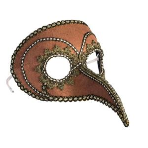 Steampunk Beaked Venetian Style Mask Brown Gold Eyeglass Arms Costume Accessory