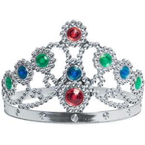 Silver Metallic Plated Jewelled Queen's Tiara Adjustable Queen Princess Crown
