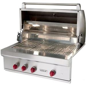 "NIB Wolf 36"" 25,000 BTU Burners Warming Rack LED Knobs Built-in Gas Grill OG36LP"