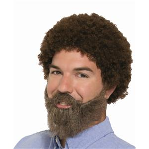 80s Guy American Painter Brown Afro Style Wig & Beard with Moustache