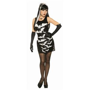Womens Black Bat Sequin Sexy Party Costume Dress M/L