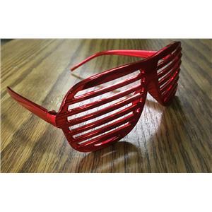 Red Metallic Lensless Shutter Blinds Style Party Frame Cool Fashion Eyewear