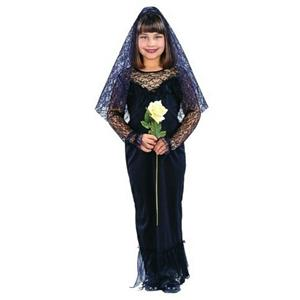 Monster's Bride Black Gown & Veil Child Small 4-6