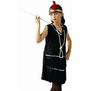 Deluxe Sequin Black 20's Retro Fashion Flapper Costume Child Medium 8-10