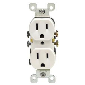 Leviton 5320-SW Residential Grade Outlet WHITE 15A 125V NEMA 5-15R Self Ground