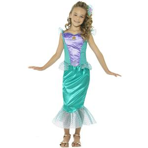 Smiffy's Girls Deluxe Little Mermaid Fairytale Fancy Dress Sz Large 10-12