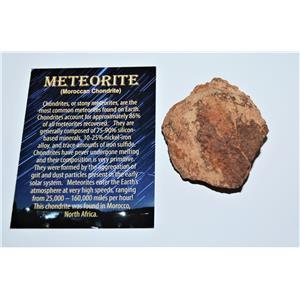 MOROCCAN Stony METEORITE Chondrite Genuine 111.7 grams 4.0oz w/COA #12997 11o