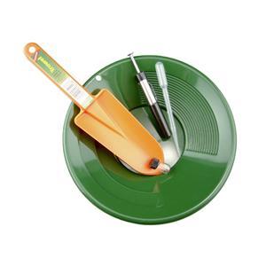 "10"" Green Gold Pan Panning Kit - Orange Scoop, Snuffer, Vial & Black Sand Magnet"