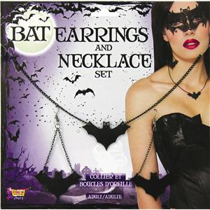 Black Bat Dangle Earrings and Necklace Costume Jewelry Set