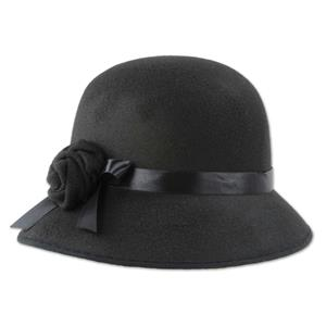 Roaring 20s Felt Cloche Hat Black Flower Rose Women's Fedora Flapper Headwear