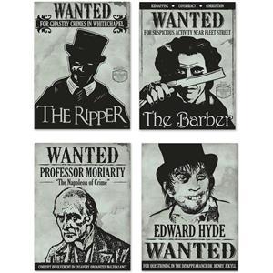 Sherlock Holmes Wanted Sign Cutouts Halloween Wall Door Paper Party Decor