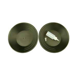 Lot of 2 Black Gold Pans w/ Bottle Snuffer-Panning Kit-Mining-Prospecting