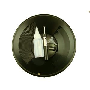 """1- 10"""" Black Gold Pan - 5"""" Snuffer Bottle - Magnet Tool - Funnel & 1"""" Vial"""