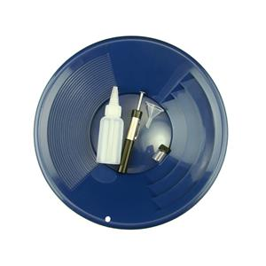 """1- 12"""" Blue Gold Pan - 5"""" Snuffer Bottle - Magnet Tool - Funnel & 1"""" Vial"""