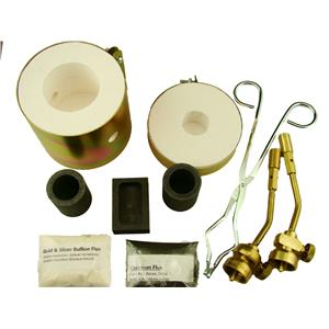 Mini Propane Gas Furnace Kit - Mold, Kiln, Flux, Tips, Crucibles, Tongs-Gold