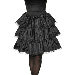 Womens Black Tiered Ruffle Lace Detail Costume Skirt Accessory