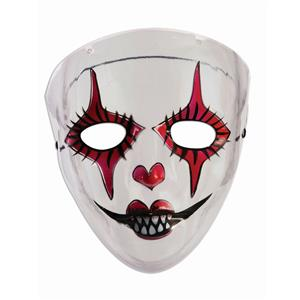 Transparent Evil Harlequin Womens Adult Red Black White Jester Halloween Mask