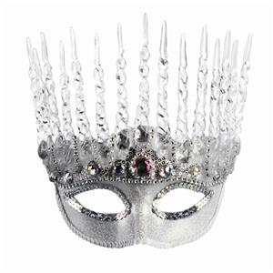 White Silver Ice Queen Mask Winter Frozen Snow Princess Icicle Costume Accessory