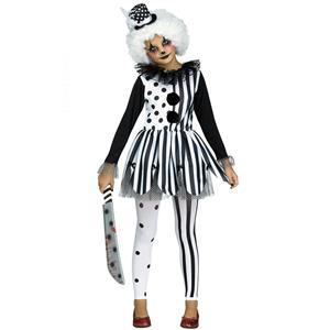 Black White Girls Killer Clown Costume Child XL 14-16