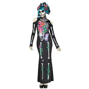 Fun World Women's Beautiful Bones Sexy Floral Skeleton Costume Dress M/L 10-14