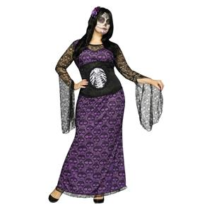 La Muerte Day of Dead Purple Black Sheer Skull Waist Cinch Dress 1X 16-20
