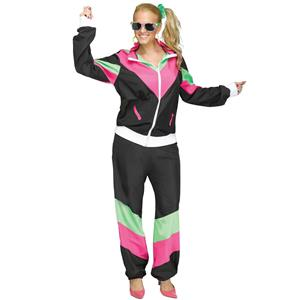 Women's 80's Retro Track Sweat Suit Adult Costume M/L 10-14