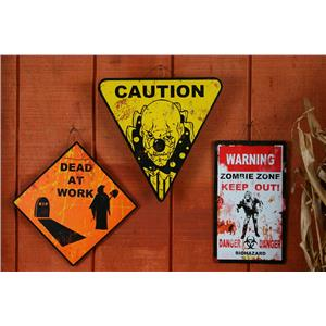 Metal Halloween Horror Yellow Caution Clown Road Sign Decoration