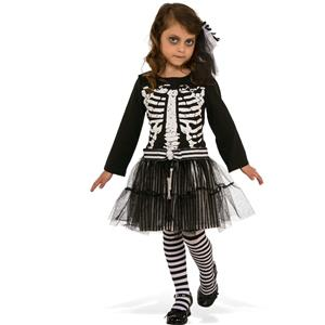 Little Skeleton Girls Child Black & White Costume Dress Medium 8-10