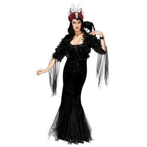 Fun World Women's Sexy Raven Mistress Adult Costume Gown Headpiece Small 4-6