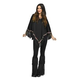 Black Suede-Look Fringe and Bead Detaling Poncho Adult Costume
