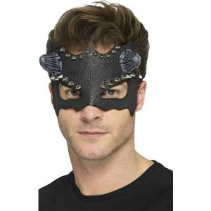 Smiffy's Black Devil Studded Eye Mask with Horns Adult Size Costume Face Mask