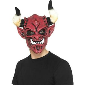 Smiffy's Men's Devil Foam Latex Mask with Horns
