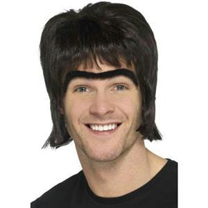 Smiffy's Men's 90s Britpop Kit 90s Celebrity Fashion Mullet Wig Unibrow Hair kit