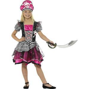 Smiffy's Girls Perfect Pirate Girl Fancy Dress Child Costume Sz Large Pink Black