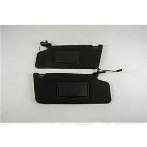 2009-2014 Ford F150 Sun Visor Set Pair Covered Lighted Mirrors Adjust Bars