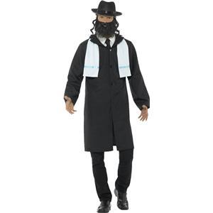 Smiffy's Men's Rabbi Adult Costume Medium Jacket Scarf Hat and Beard