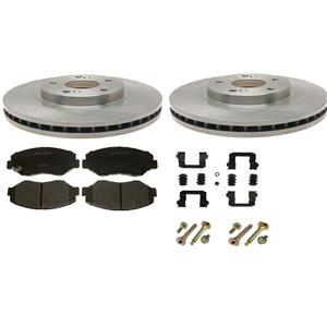 Brake Pad Rotor Kit Honda Pilot 2003-2008 Ceramic Pads Rotors & Hardware FRONT