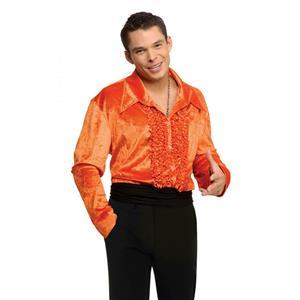 Orange Ruffled Velvet Disco Shirt 70's Large