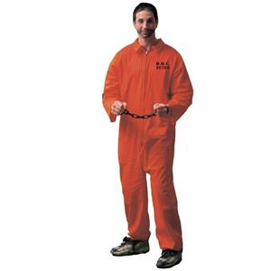 Jailbird Inmate Prisoner Orange Jumpsuit Adult Costume