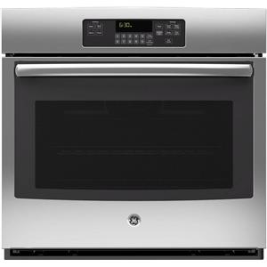 "GE 30"" 5.0 cu ft Ten-Pass Bake Element Single SS Electric Wall Oven JT3000SFSS"