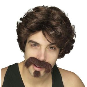 Uncle Rico or Big John Brown Men's Wig Moustache and Goatee Set