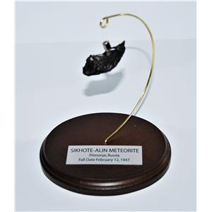 SIKHOTE-ALIN METEORITE 32.0 gm w/ Wood Display Stand, Label, and COA #13679 14o