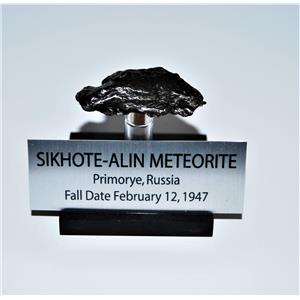 SIKHOTE-ALIN METEORITE 37.5 gm w/Acrylic Display Stand,Label, and COA #13682 11o