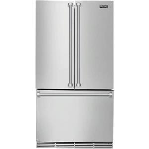 "Viking 3 Series 36"" LED Door Open Alarm SS French Door Refrigerator RVRF336SS"